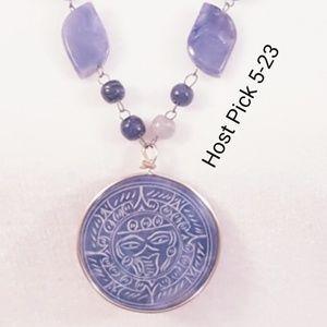 "Jewelry - 27"" Carved Blue Aventurine stone necklace. EUC"